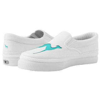 Windhund-/Whippettürkisblau-Silhouette Slip-On Sneaker