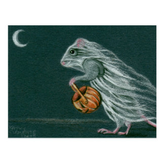 Windige Halloween-Geist-Postkarte Postkarte