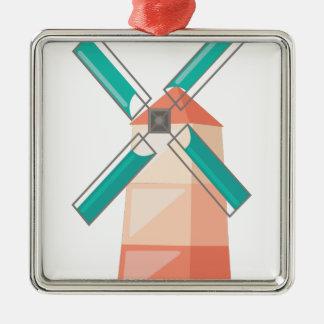 Windmühle Quadratisches Silberfarbenes Ornament