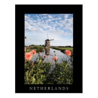 Windmühle und Blumen, vertikale schwarze Karte