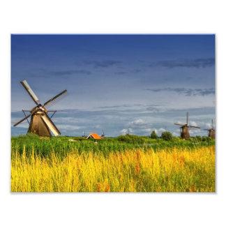 Windmühlen in Kinderdijk, Holland, die Niederlande Fotodruck