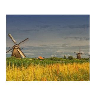Windmühlen in Kinderdijk, Holland, die Niederlande Holzleinwand