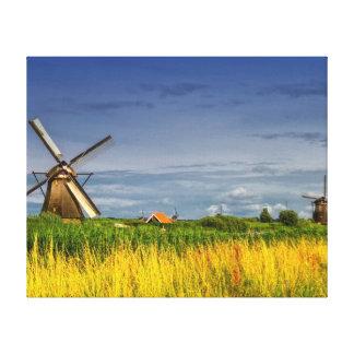 Windmühlen in Kinderdijk, Holland, die Niederlande Leinwanddruck