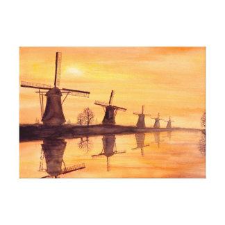 Windmühlen-Sonnenuntergang-Aquarell-Malerei Leinwanddruck