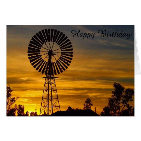 Windmühlen-Sonnenunterganggeburtstagskarte Grußkarte