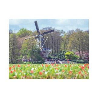 Windmühlen- und Blumen-Leinwanddruck Leinwanddruck