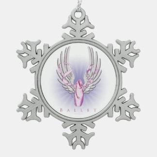 Winged Ballett (Tanz) Schneeflocken Zinn-Ornament
