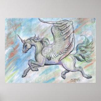 Winged Einhorn-Fliegen-Flug-Fantasie-Magie Poster