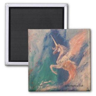 Winged Einhorn-Pegasus-Wolke Quadratischer Magnet