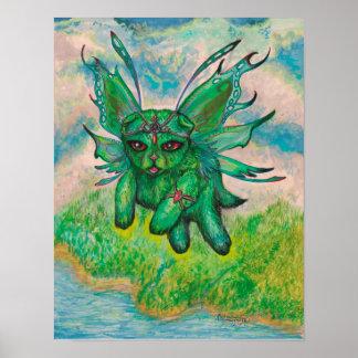 Winged grüne Katze Poster