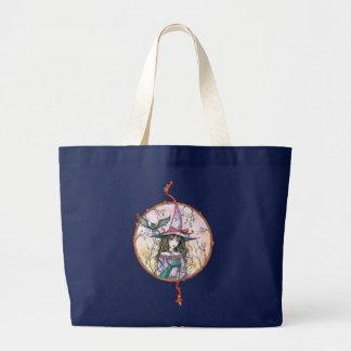 Winged Katzen-Tasche Halloweens Hexe durch Molly Jumbo Stoffbeutel
