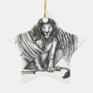 Winged Löwe, der CUB-Tätowierung schützt Keramik Ornament