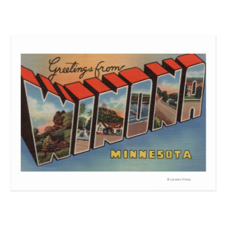 Winona, Minnesota - große Buchstabe-Szenen Postkarte