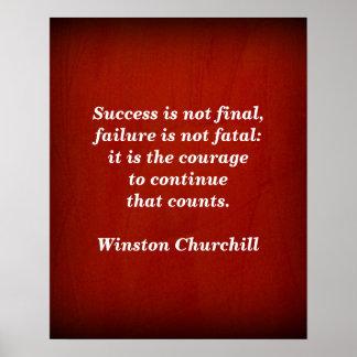 Winston- Churchillzitat; Erfolg Poster