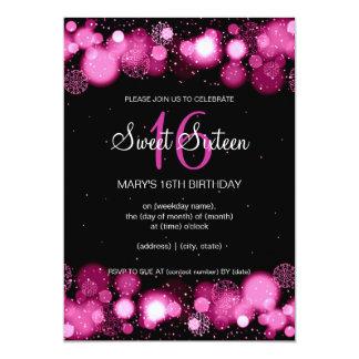 Winter-16. Geburtstag-Geburtstags-Party-Rosa 12,7 X 17,8 Cm Einladungskarte