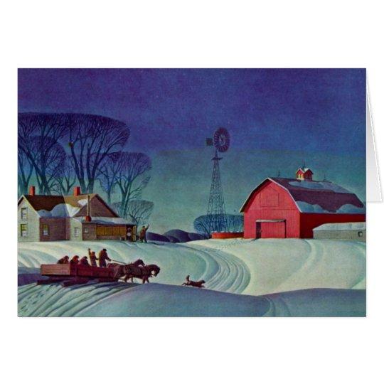 Winter am Bauernhof Grußkarte