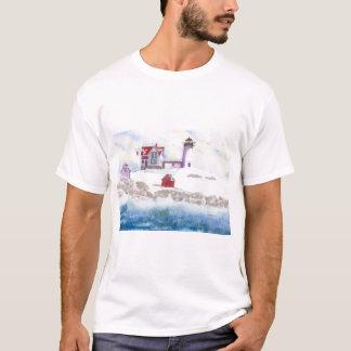 Winter am Klumpen-Leuchtturm in Maine T-Shirt