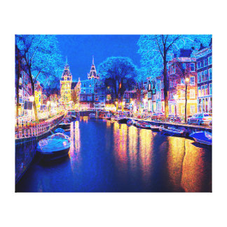 Winter-Amsterdam-Kanal nachts mit Booten Leinwanddruck