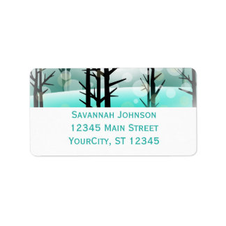 Winter-Aqua-Waldbaum-Adressen-Etiketten Adressaufkleber