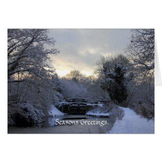 Winter auf der Basingstoke Kanal-Karte Grußkarte