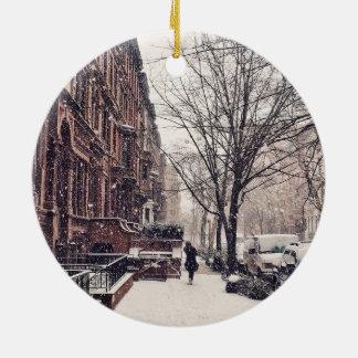 Winter auf Upper West Side Keramik Ornament