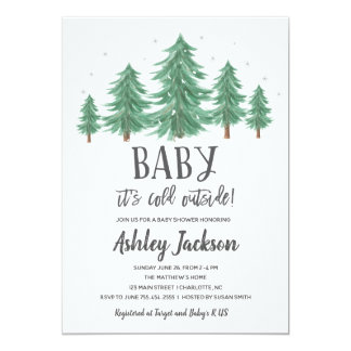 Winter Babyparty-Grün-Holz Karte