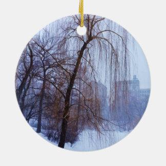 Winter-Bäume im Central Park Rundes Keramik Ornament