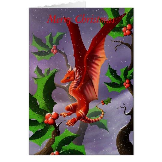 Winter-Beeren-Drache Grußkarte