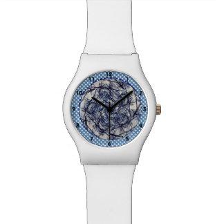 Winter-Blau-Kaleidoskop Armbanduhr