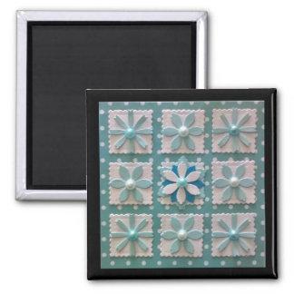 Winter-Blumensteppdecken-Anordnungsmagnet Quadratischer Magnet