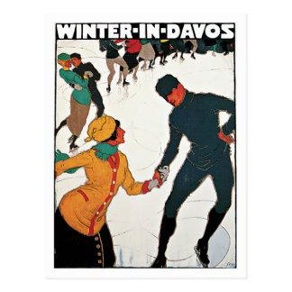 Winter Davos die Schweiz Vintag Postkarte