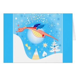 Winter-Drache-Fliegen durch Schneeflocken Karte