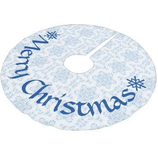 Winter-Eis Blau-Schneeflocken Polyester Weihnachtsbaumdecke