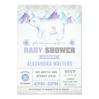 Winter-Eisbär-Babyparty-Einladungs-Schneeflocke Karte