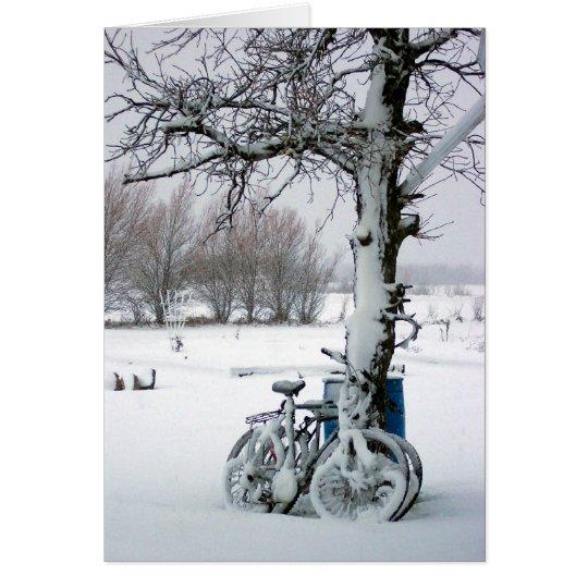 Winter-Fahrräder im Schnee-freien Raum Notecards Mitteilungskarte