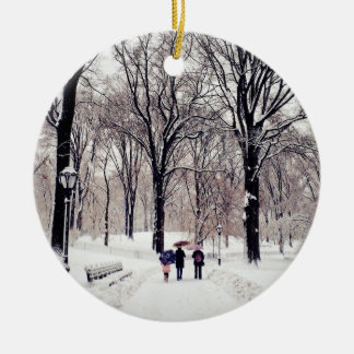 Winter-Familien-Reise zum Central Park Rundes Keramik Ornament