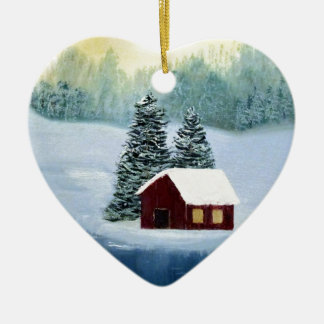 Winter-Frieden gefrorene Keramik Herz-Ornament