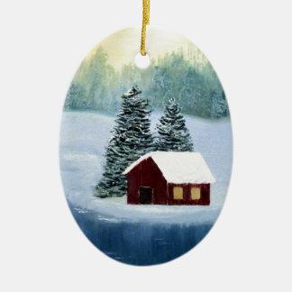 Winter-Frieden gefrorene Keramik Ornament