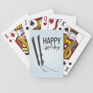 Winter frohe Feiertage Ski fahrend Spielkarten