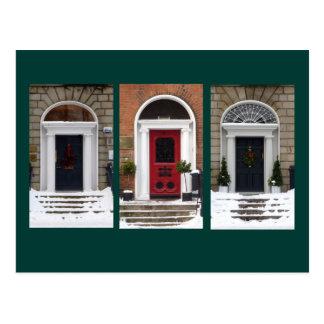Winter-georgische Türen Postkarte