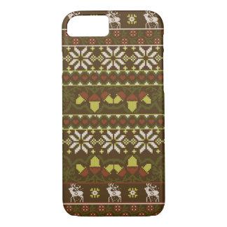 Winter Grün gestricktes patern mit Rotwild iPhone 7 Hülle