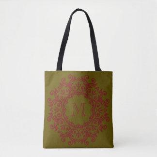 Winter-Grün und grobes rotes Rolle-Kranz-Monogramm Tasche
