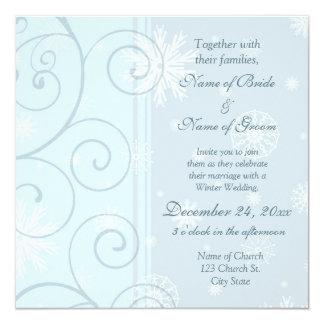 Winter-Hochzeits-Einladungs-Foto-Karten Quadratische 13,3 Cm Einladungskarte