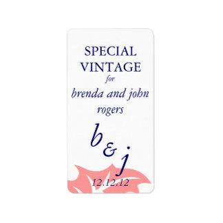 Winter-Hochzeits-Wein-Flasche beschriftet rosa Bla Adressetiketten