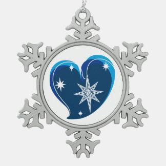 Winter in Liebe-Blauem Schneeflocken Zinn-Ornament