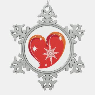 Winter in Liebe-Rotem Schneeflocken Zinn-Ornament