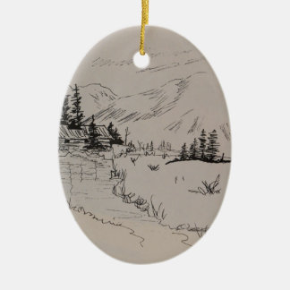 Winter-Kabine des Nordholzes Ovales Keramik Ornament
