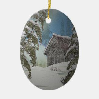 Winter-Kabinen-Verzierung Ovales Keramik Ornament