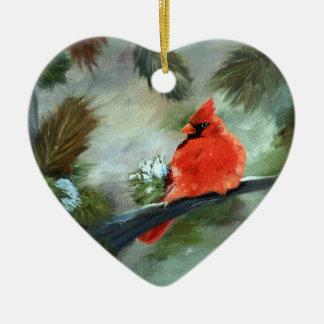 Winter-Kardinal Keramik Herz-Ornament