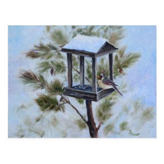 Winter-Kardinals-Besucher Postkarte